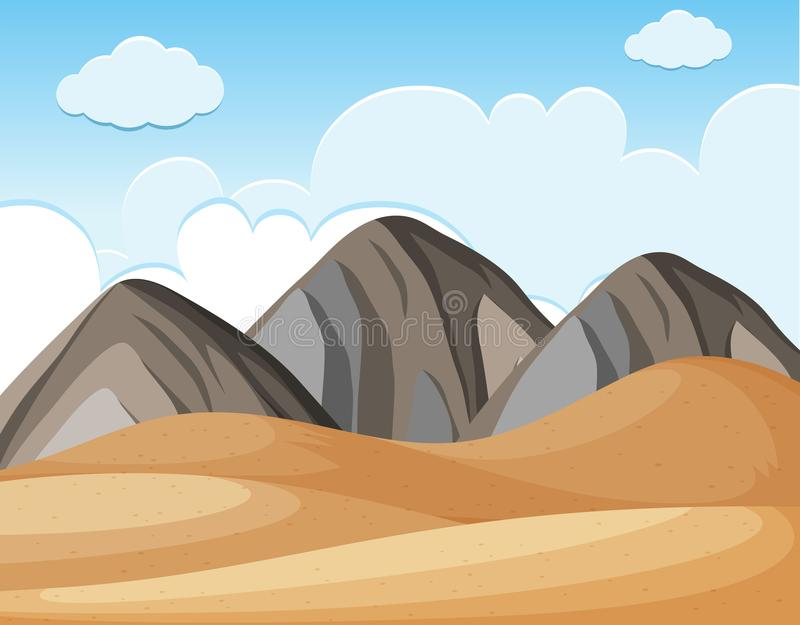 Desert ground and blue sky. Illustration stock illustration