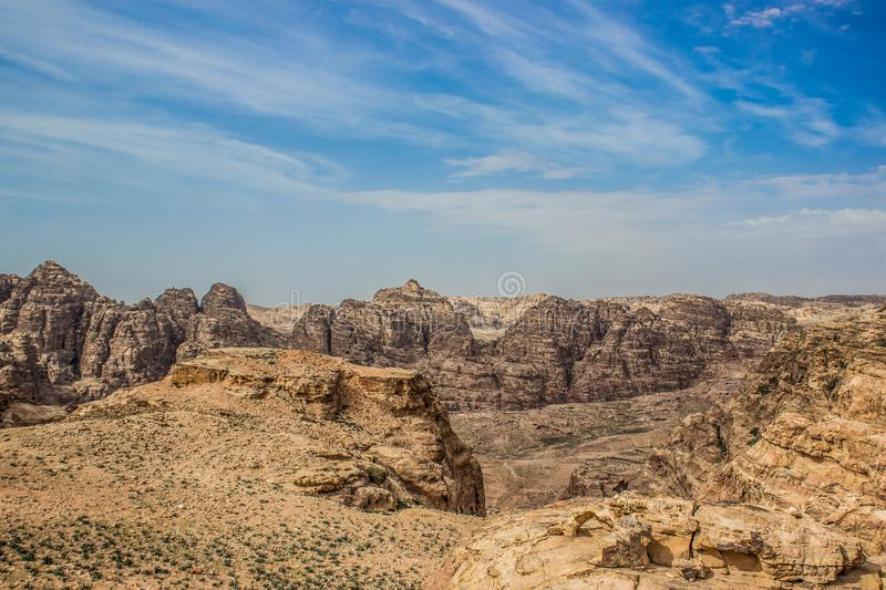 Desert highland rocky Nevada USA national park with sand stone sharp mountains wilderness canyon area empty nature scenery. Landscape view royalty free stock image