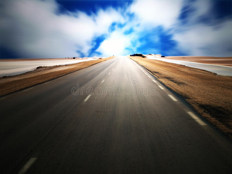 Desert highway stock image