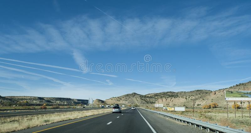 Grants, New Mexico area I-40 highway with billboards stock photo