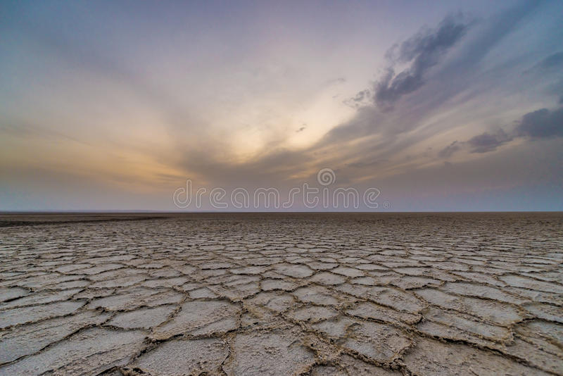 Desert in Iran. Sunset over Salt Lake on Maranjab Desert in Iran stock photos