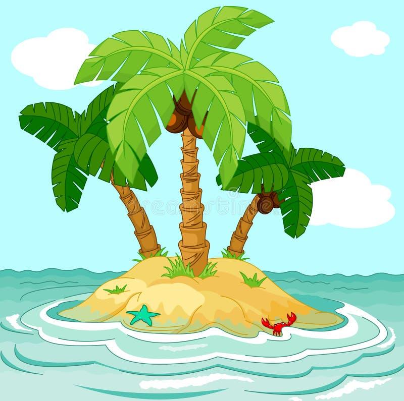 Desert island. Illustration of palm trees on desert island stock illustration