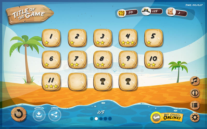 Desert Island Game User Interface Design For Table stock illustration