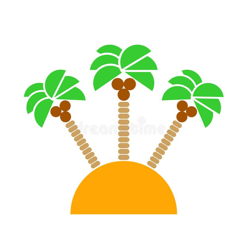 Desert Island with palm trees isolated. Vector.  royalty free illustration