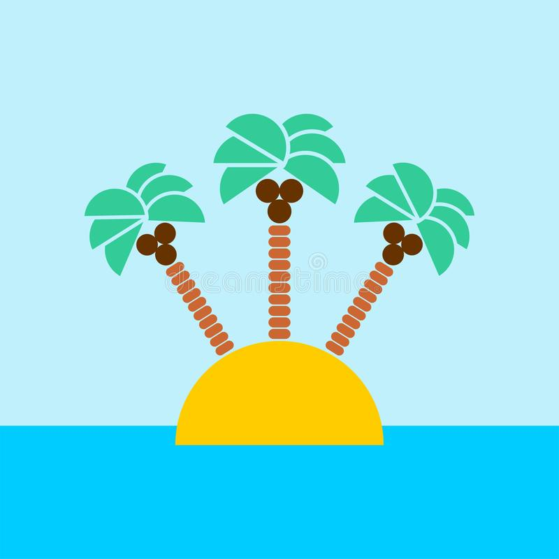 Desert Island with palm trees isolated. Vector. Desert Island with palm trees in ocean isolated. Vector stock illustration