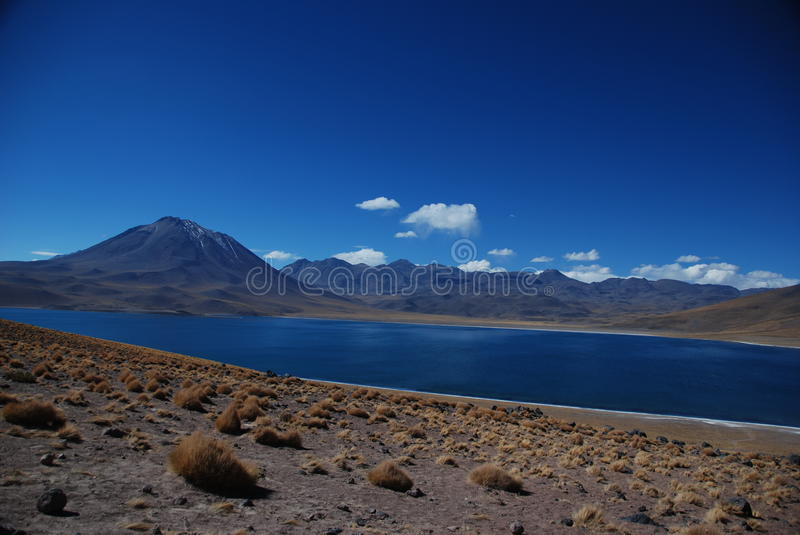 Desert lake and volcanoes royalty free stock images