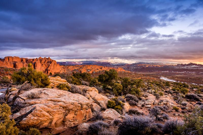 Arches National Park in winter royalty free stock images