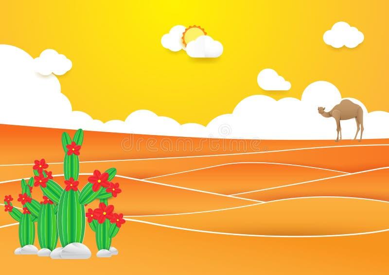 Desert landscape. Cactus and camel in desert with Sunset vector illustration