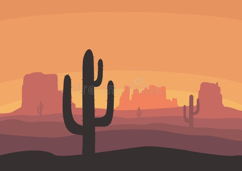 Desert landscape with cactus, hills and mountains silhouettes. Nature sunset on a background of a mountain landscape vector illustration