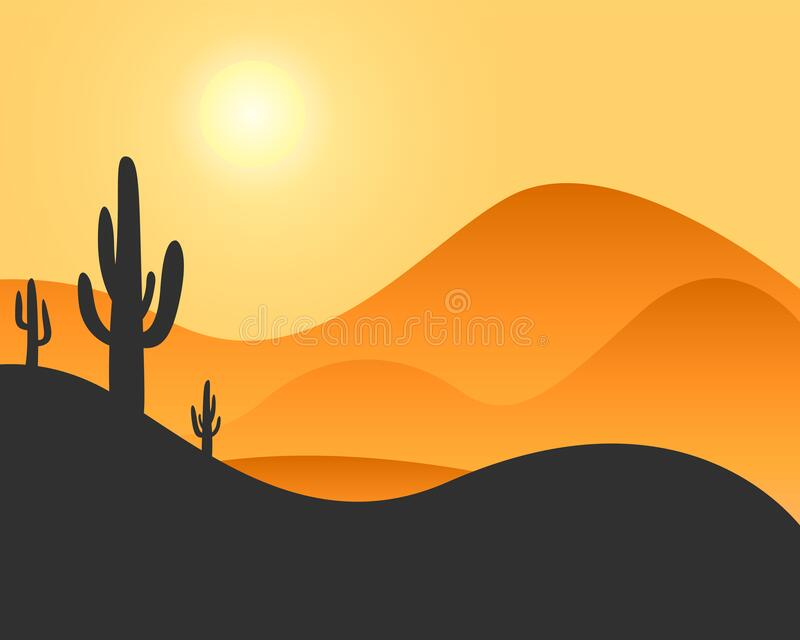Desert landscape with cactus and hills with sunset royalty free illustration