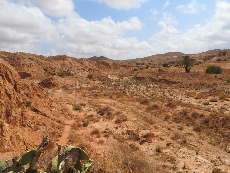Desert landscape and clear sky near Matmata in southern Tunisia, North Africa royalty free stock image