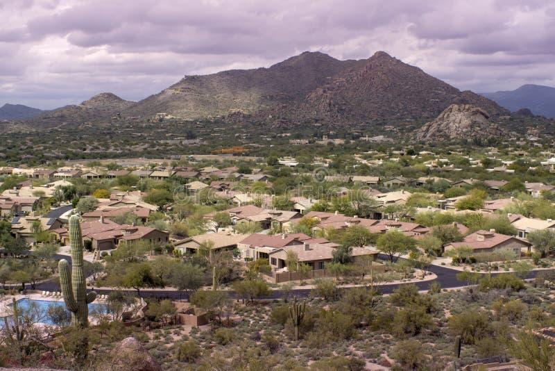 Desert landscape community Scottsdale,AZ,USA royalty free stock photos