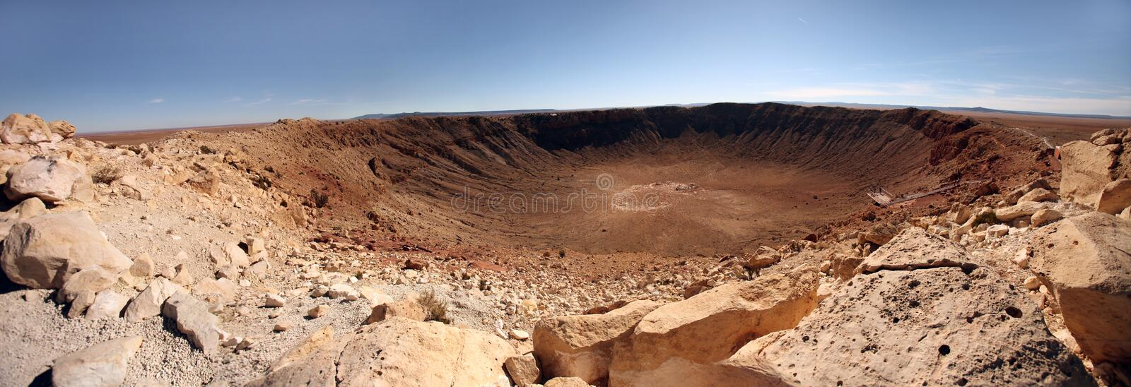Desert Landscape With Crater stock photo