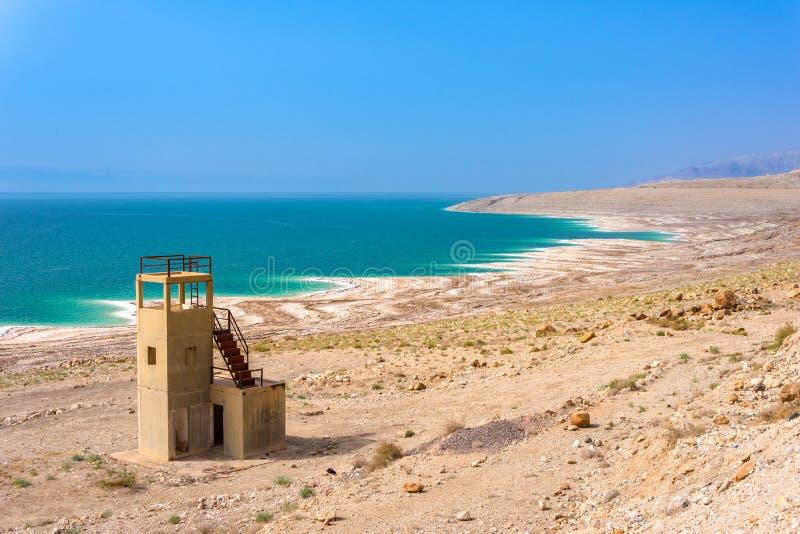 Desert landscape of Dead Sea coastline with white salt, Jordan, Israel. stock photography