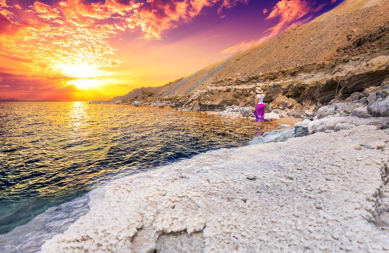 Desert landscape of Dead Sea coastline with white salt, Jordan, Israel. stock photo