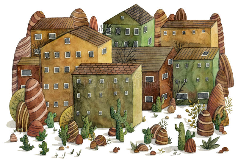 Desert landscape with houses, cactuses, stones and mountains. royalty free illustration