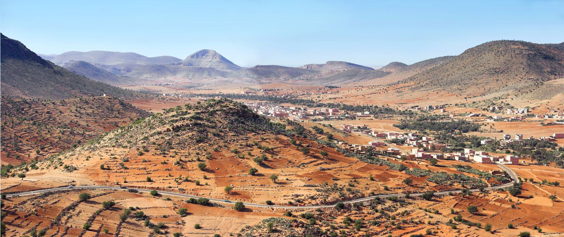 Desert landscape and local farmland stock photos