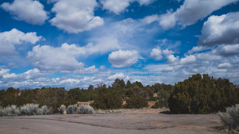 Desert landscape near Santa Fe, New Mexico, USA. Desert landscape with trees under blue sky and clouds, in Museum Hill, Santa Fe, New Mexico, USA stock photos