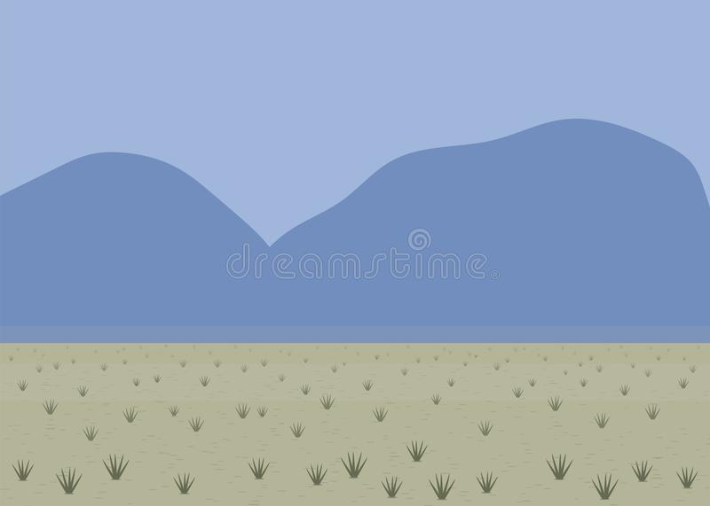 Desert landscape sand color black bunches of grass distant blue mountains light blue sky summer heat vector simple background patt vector illustration