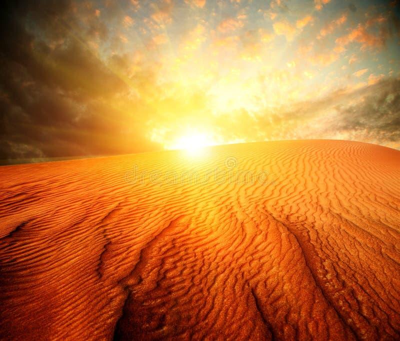 Desert Landscape. Desert. Sand Landscape with Sun stock images
