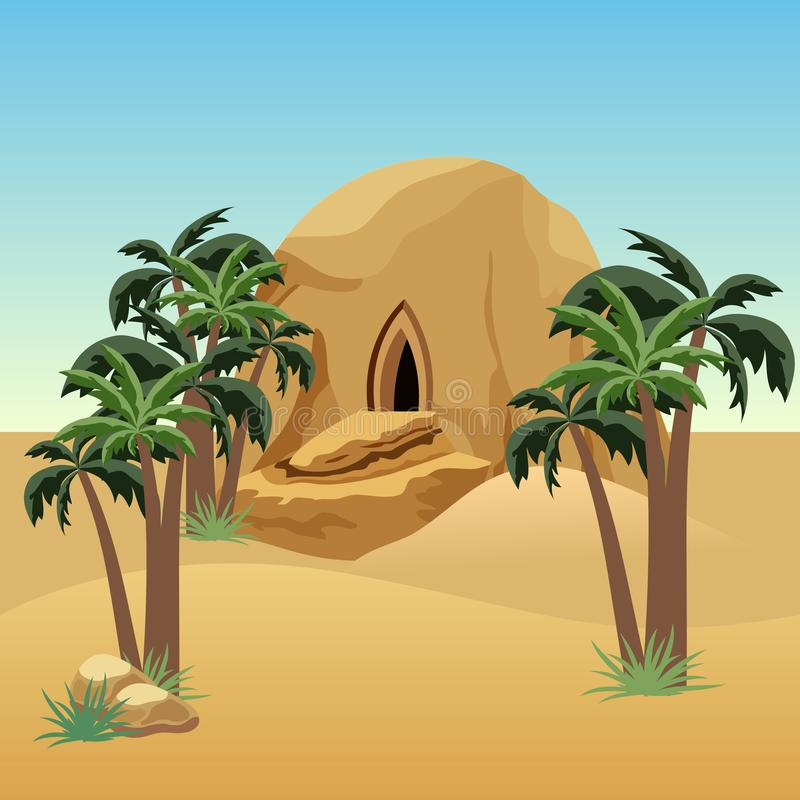 Desert landscape scene for cartoon or game asset background. Desert, sand dunes, palms, house in rock cave. Vector illustration royalty free illustration
