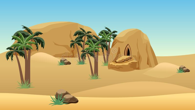 Desert landscape scene for cartoon or game background vector illustration