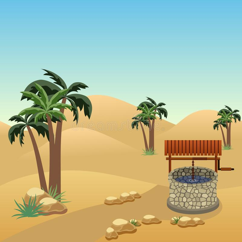 Desert landscape scene with a well in the middle of sands stock illustration