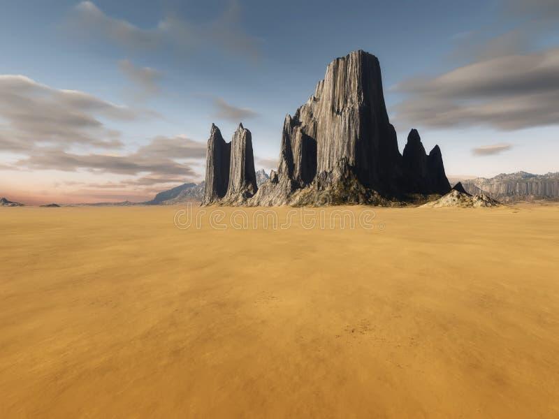 Desert landscape without vegetation royalty free illustration