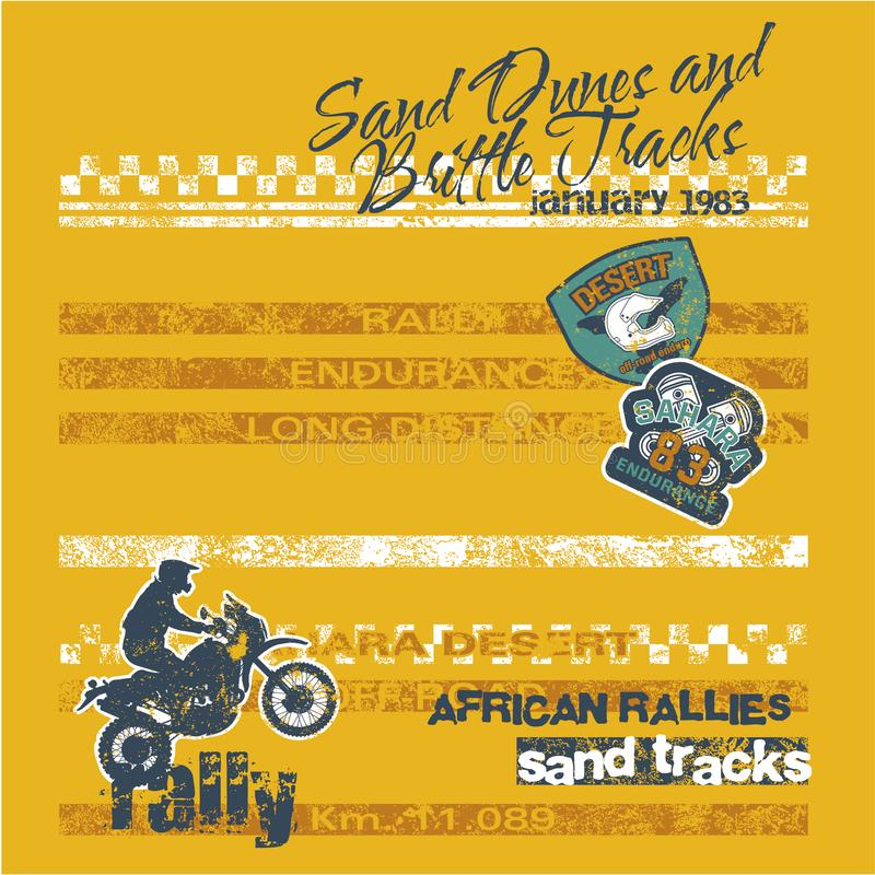 Desert motorcycle endurance rally racing competition royalty free illustration