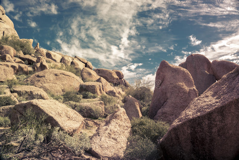 Desert mountain landscape near Phoenix,Scottsdale,AZ stock image