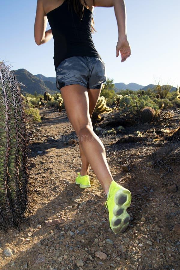 Desert Mountain Trail Female Runner royalty free stock photo