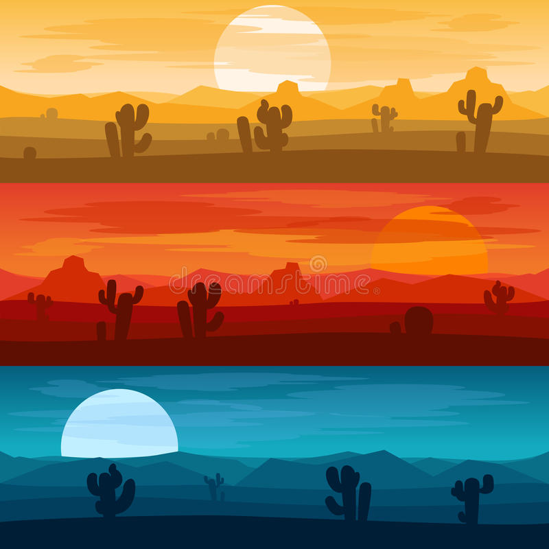 Free Desert Mountains Landscape Days And At Night Vector Backgrounds Royalty Free Stock Image - 81386066