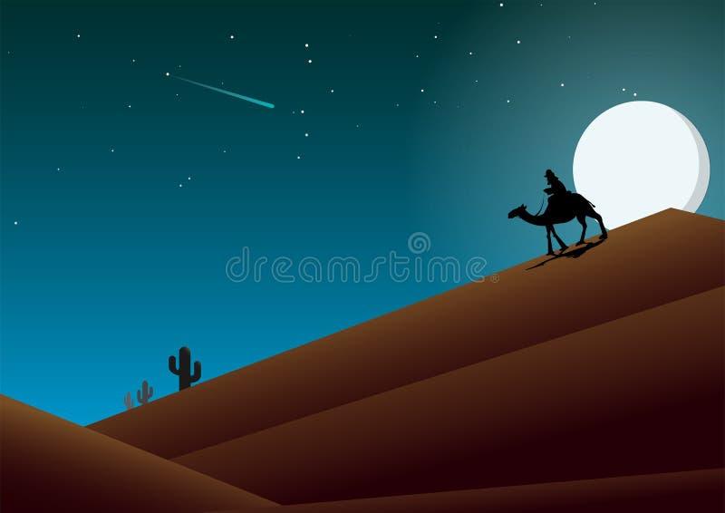 Desert mountains at night stock illustration