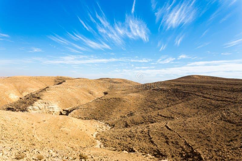 Desert mountains ridge cliffs, south Israel landscape. Mountains ridge hills scenic landscape canyon view, Arif crater Negev desert, travel Israel nature royalty free stock images