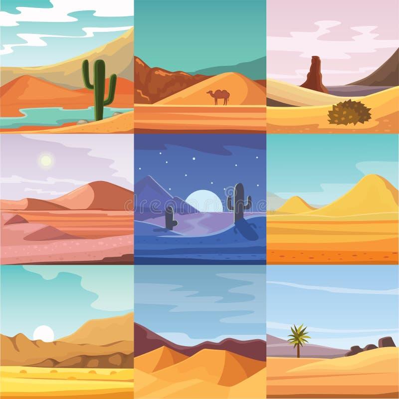 Free Desert Mountains Sandstone Wilderness Landscape Background Dry Under Sun Hot Dune Scenery Travel Vector Illustration. Stock Photography - 93185002