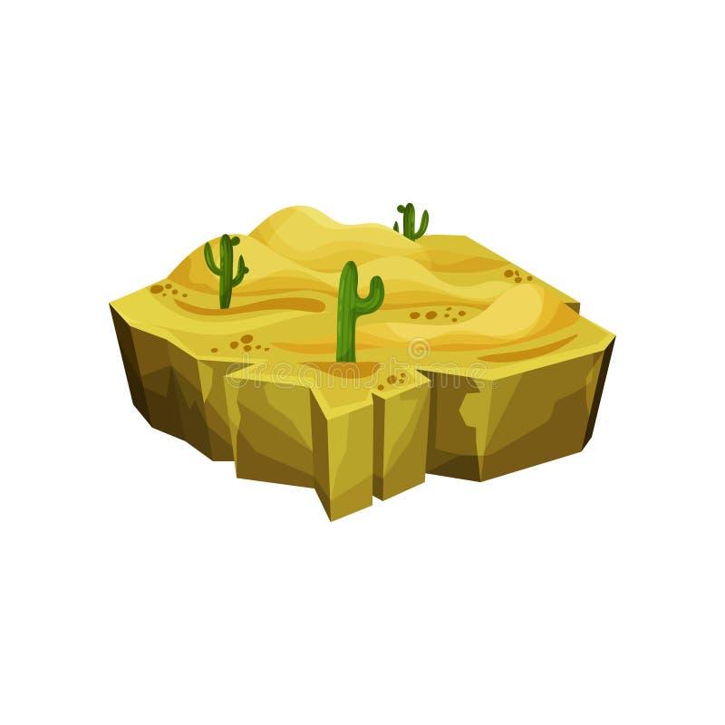 Desert natural landscape, fantastic island for game user interface, element for video games, computer or web design. Vector Illustration isolated on a white stock illustration