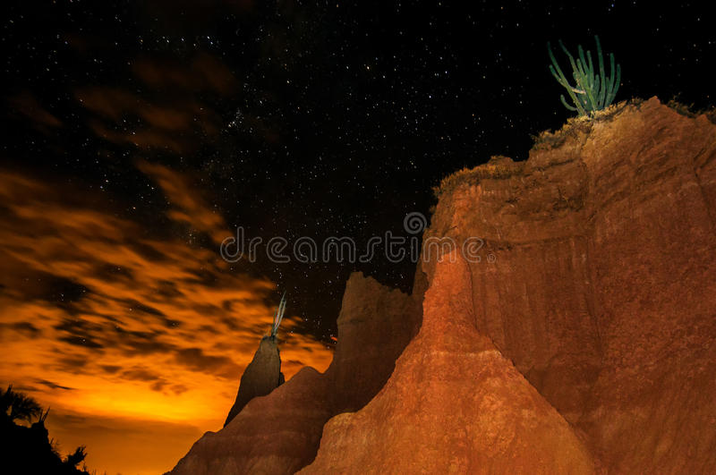 Desert at Night. Dramatic view of Tatacoa desert at night in Huila, Colombia royalty free stock images