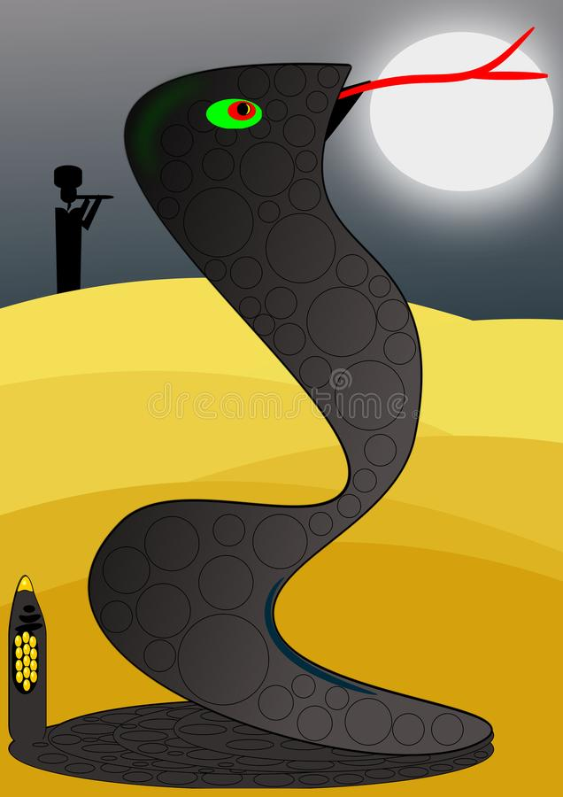 They say that the music that tames the beasts. In the desert one full moon night a flutist make a rattlesnake snake get up royalty free illustration
