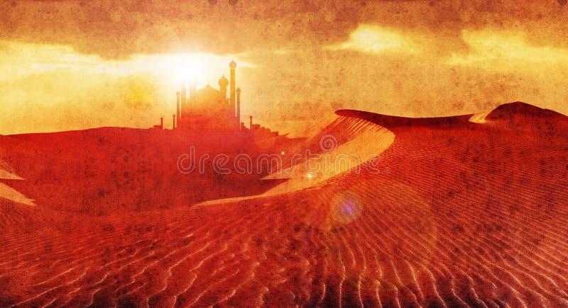 Desert palace 3. Aladdin style palace in desert stock illustration