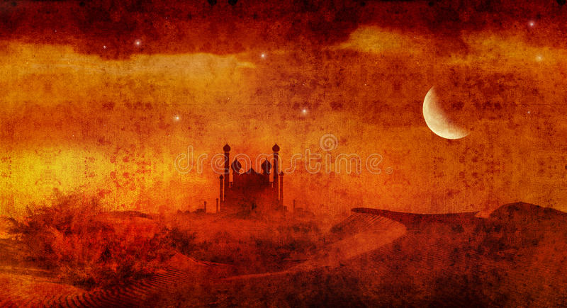 Desert palace 4. Aladdin style palace in desert with stars and moon royalty free illustration