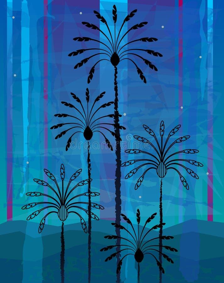 Desert Palm Trees stock illustration