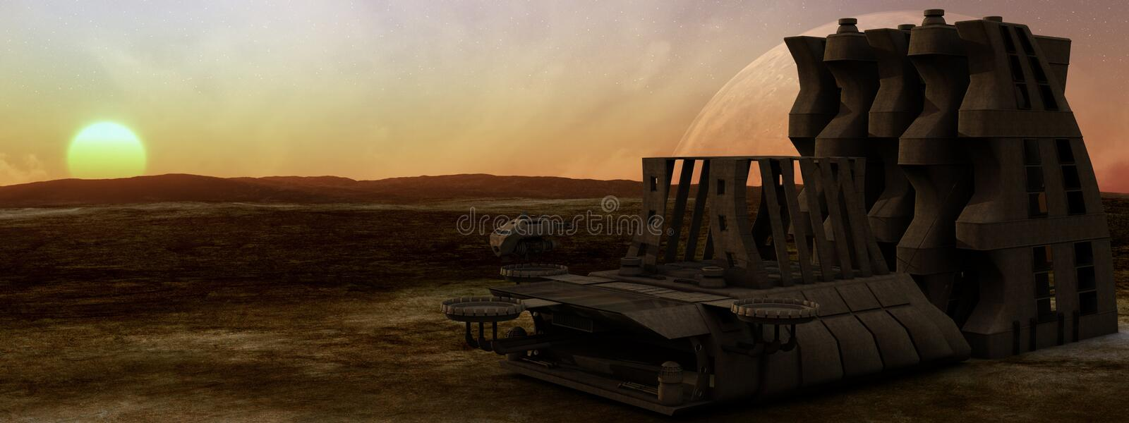 Desert Planet Space Station royalty free stock images