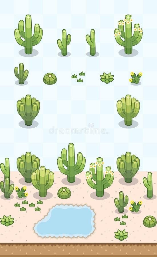 Desert Plants Set American Cactus stock photo
