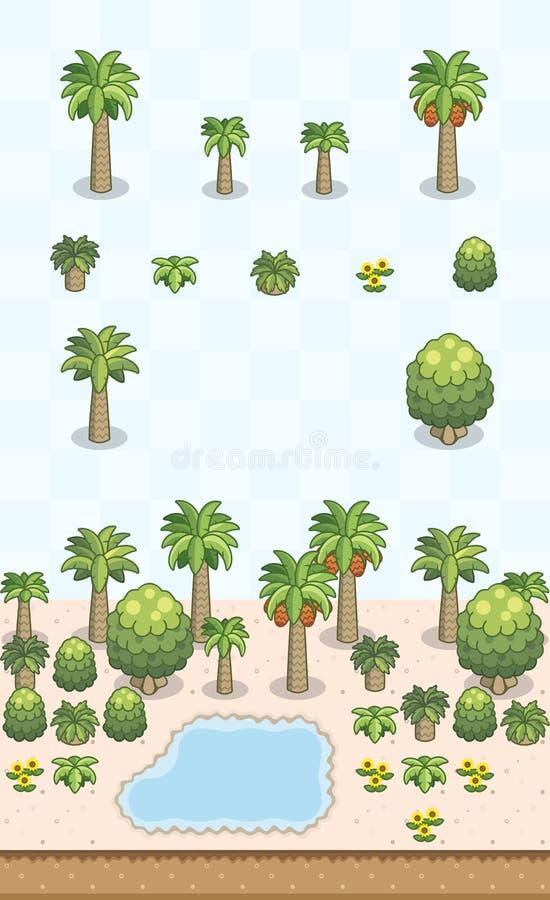 Desert Plants Set Arabian/Saharan Oasis stock photos