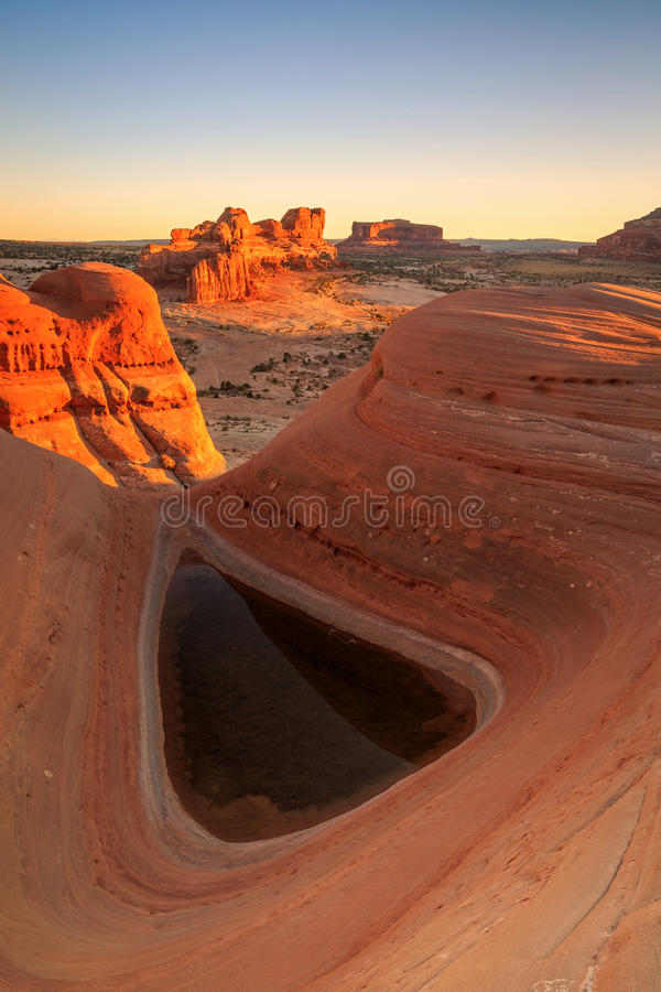 Desert Pool with sunset glow. royalty free stock images