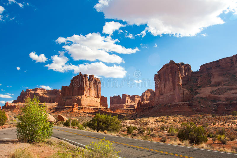 Desert Road in Arches National Park,Utah. USA royalty free stock photos