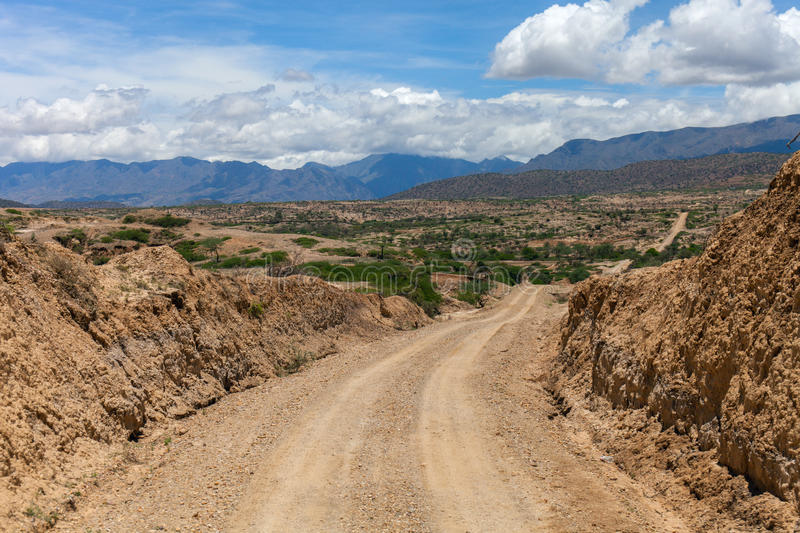 Desert Road: A rough dirt way royalty free stock images