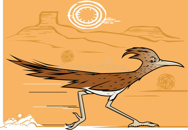 Desert Roadrunner. A bird racing through the dry southwest vector illustration