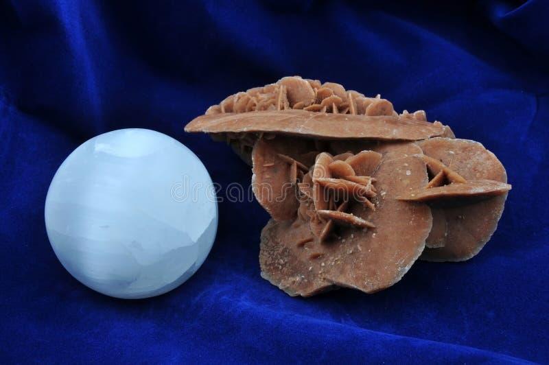 Desert Rose and sphere selenite royalty free stock images