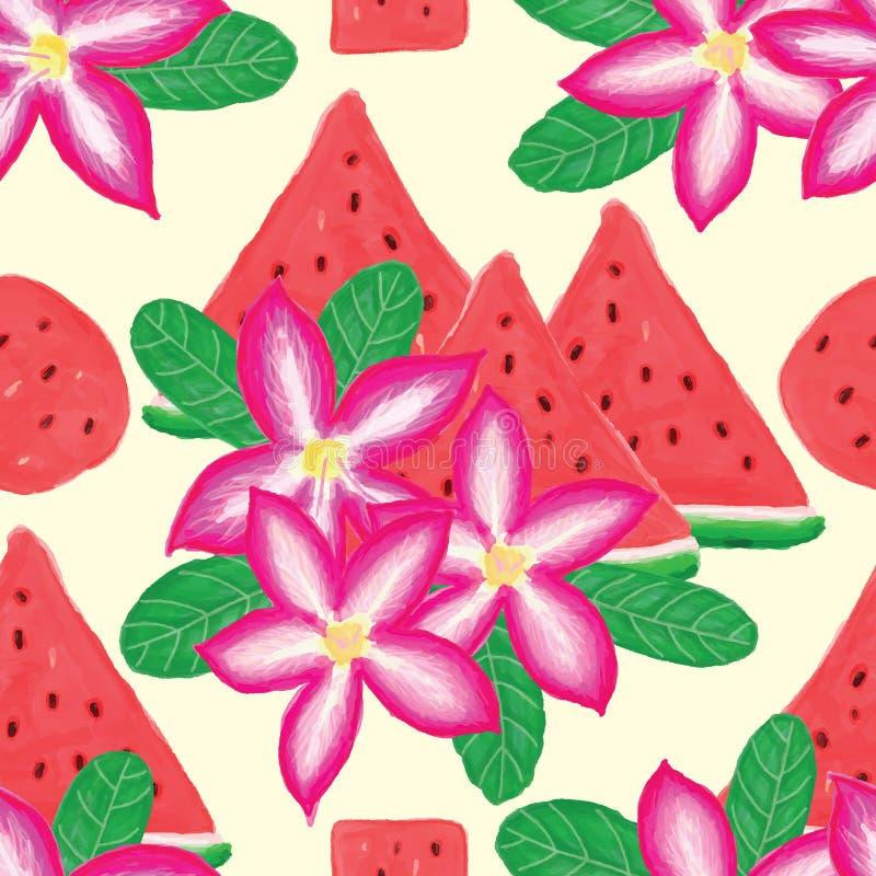 Desert rose watermelon seamless pattern vector illustration